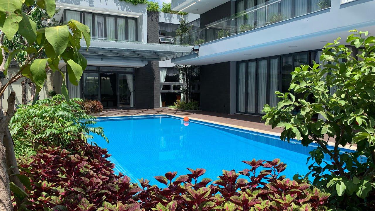 Hồ bơi cho siêu biệt thự, đầy đủ về: cấu tạo hồ bơi, cảnh quan xung quanh, ánh sáng, âm thanh
