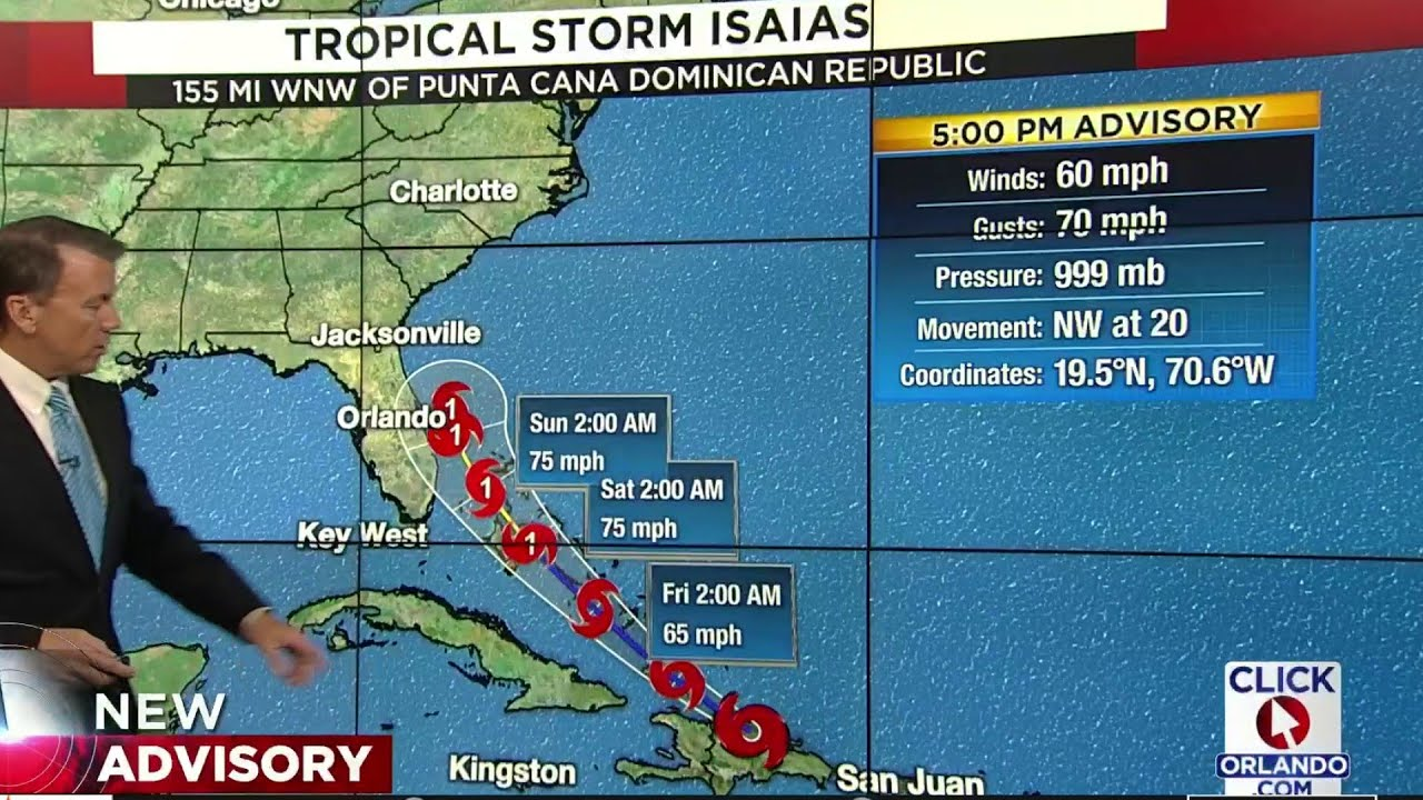 Isaias forecast to become hurricane Friday; Tropical storm watch ...