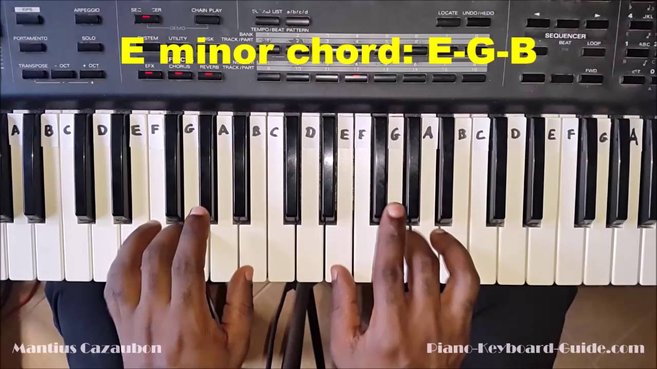 Em chord on piano  The E minor chord