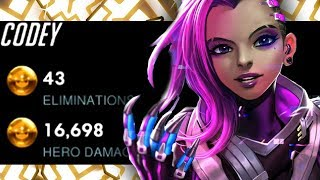 CODEY INSANE SOMBRA - TOP DPS! 43 ELIMS 16k DMG!! [ OVERWATCH SEASON 15 TOP 500 ]