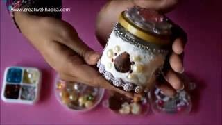 How To Decorate Mini Glass Jar with Collage Clay & Embellishments
