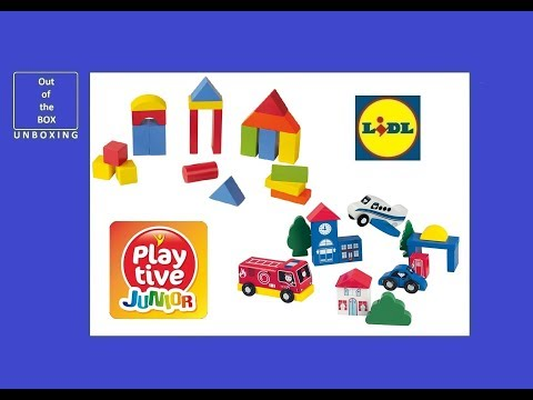 Playtive Junior Play Town Wooden Building Blocks Drum Assortment Unboxing Lidl 50 Pieces 2