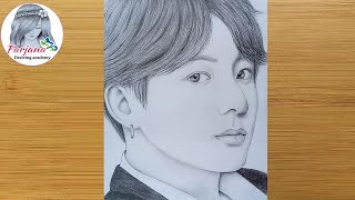 Pencil sketch Drawing of BTS (Jungkook)  Drawing Tutorial  Face Drawing   防弾少年団
