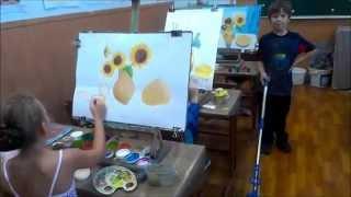 """Урок живописи для малышей """"Подсолнухи"""""""