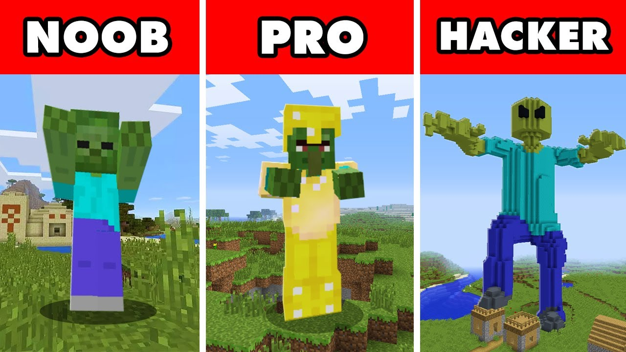 Download Noob vs. Pro vs. Hacker : MUTANT GIANT ZOMBIE APOCALYPSE CHALLENGE! In Minecraft Animation
