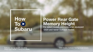 homepage tile video photo for How to Set Your Subaru SUV's Power Rear Gate Memory Height