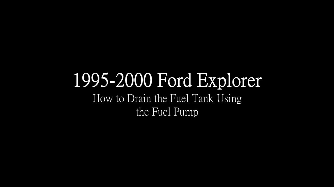 1995 2000 Ford Explorer How To Drain Fuel Tank Youtube F 150 Pump Relay