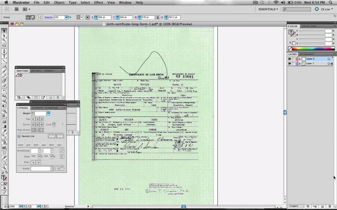 Obama birth certificate faked in adobe illustrator official obama birth certificate faked in adobe illustrator official proof 1 layers youtube 1betcityfo Image collections