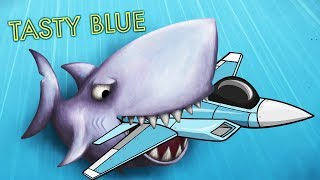 ГИГАНТСКАЯ АКУЛА КУСАКА ЕСТ ВОЕННЫЕ ИСТРЕБИТЕЛИ! Мульт игра для детей Tasty Blue