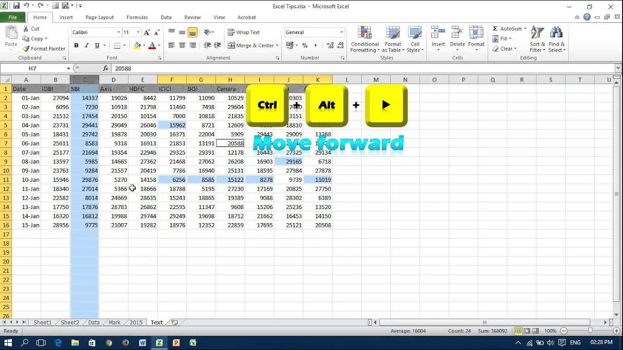 Shortcut Key To Move Between Selected Non Adjacent Cells In Excel