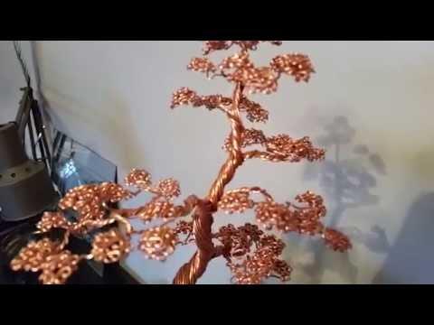 Bonsai Tree #48 Copper Wire Tree Sculpture On A Rock!!!!!!!