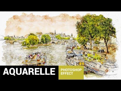 Aquarelleum - Urban Sketcher Photoshop Action Tutorial