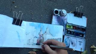 Urban watercolor sketching: view on a monastery from Moscow street