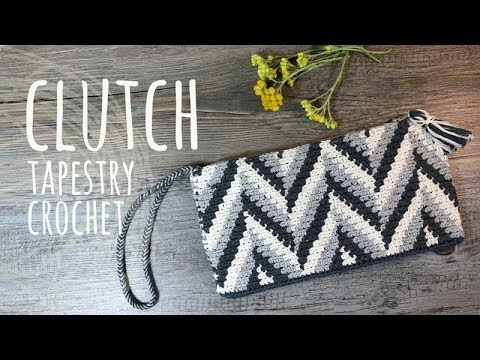 Tutorial Clutch Tapestry Crochet Lanas Y Ovillos In English Youtube