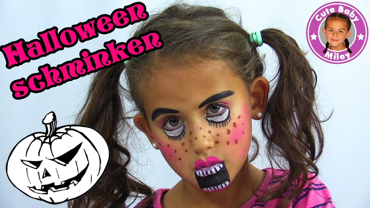 halloween kinder schminken miley wird eine gruselpuppe cutebabymiley youtube. Black Bedroom Furniture Sets. Home Design Ideas