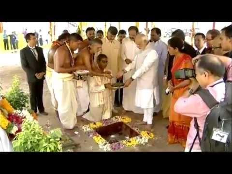 PM Narendra Modi at the laying  of foundation stone of Amaravathi, new Andhra Pradesh Capital
