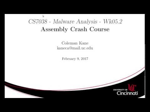 CS7038: Wk05.2 - Assembly Language Crash Course