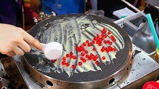 Thailand Street Food - SHOCKING BLACK CREPE Bangkok Dessert