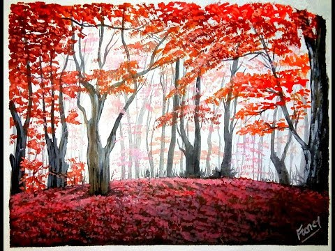 A Beautiful Red Forest Painting 2019|| Acrylic Painting Tutorial || Landscape Painting