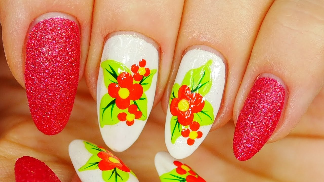 Nail Art. Simple Floral Design !!! - YouTube