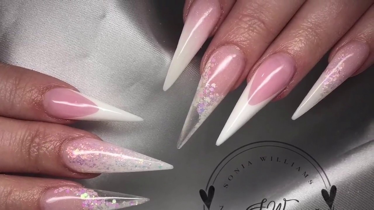 Pink & White Long Stiletto Nails | Acrylic Nails - YouTube