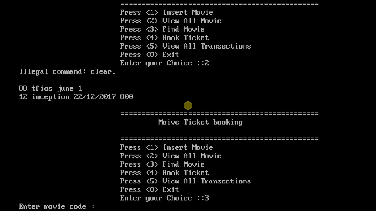 Movie Ticket Booking System In C Pogramming With Source code(C Projects)