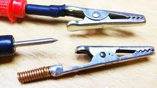 Делаем простую и удобную насадку типа КРОКОДИЛ для щупа мультиметра, тестера своими руками