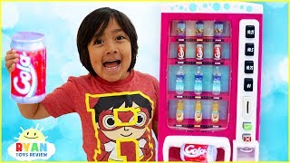 Ryan Pretend Play with Vending Machine Soda Kids Toys!!!