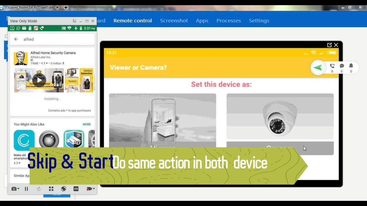 Smartphone security camera monitor app