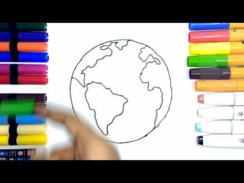 Earth 🌍 Coloring🎨 Page How To Draw And Color Earth Learn To Color Earth