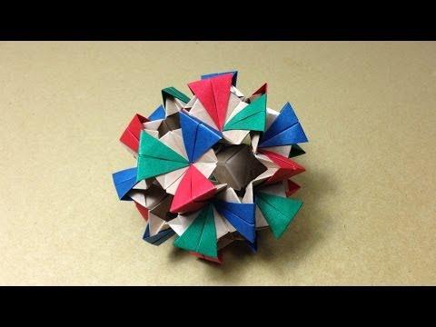折り紙おりがみ 薗部式くす玉の折り方 作り方 立体 多面体 ユニット 上級