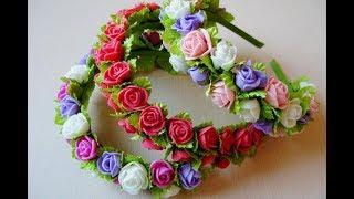 Обруч с цветами роз и листочками своими руками