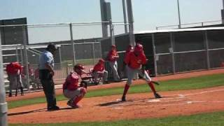 Yorman Rodriguez legs out a base hit during a minor league intra squad game