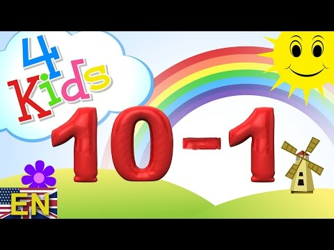 Numbers counting 10-1 (Reverse) Learning Video for children and toddlers (english)