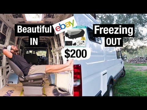 Heating My Van Conversion For 200 Bucks   Externally Mounted & QUIET! Diesel Heater Install