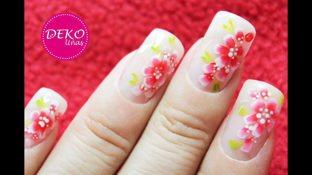 decoracion de u as flores rojas red flowers nail art