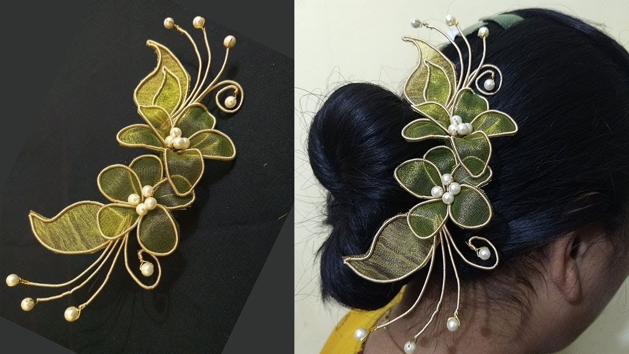 Zardosi hair brooch Making | Hair brooch Indian wedding ...