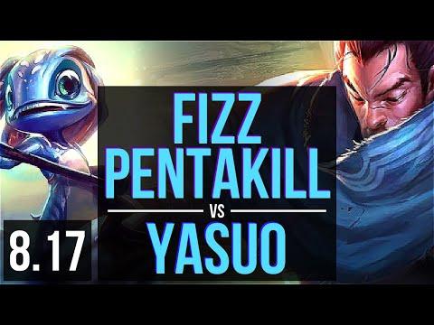 FIZZ vs YASUO (MID) ~ Pentakill, 1800+ games, KDA 23/3/6, Legendary ~ Korea Diamond ~ Patch 8.17