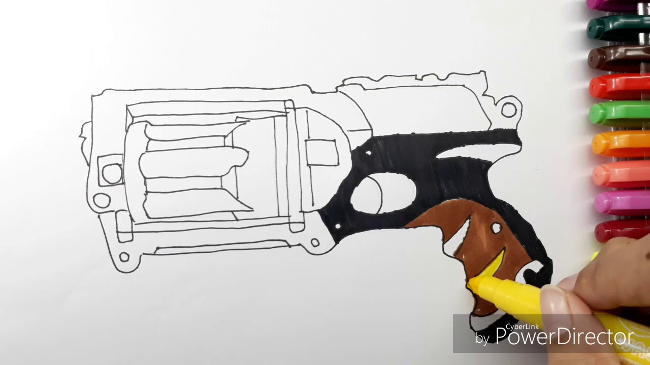how to draw nerf gun coloring book learning coloring page for activities video for kids - Nerf Coloring Pages