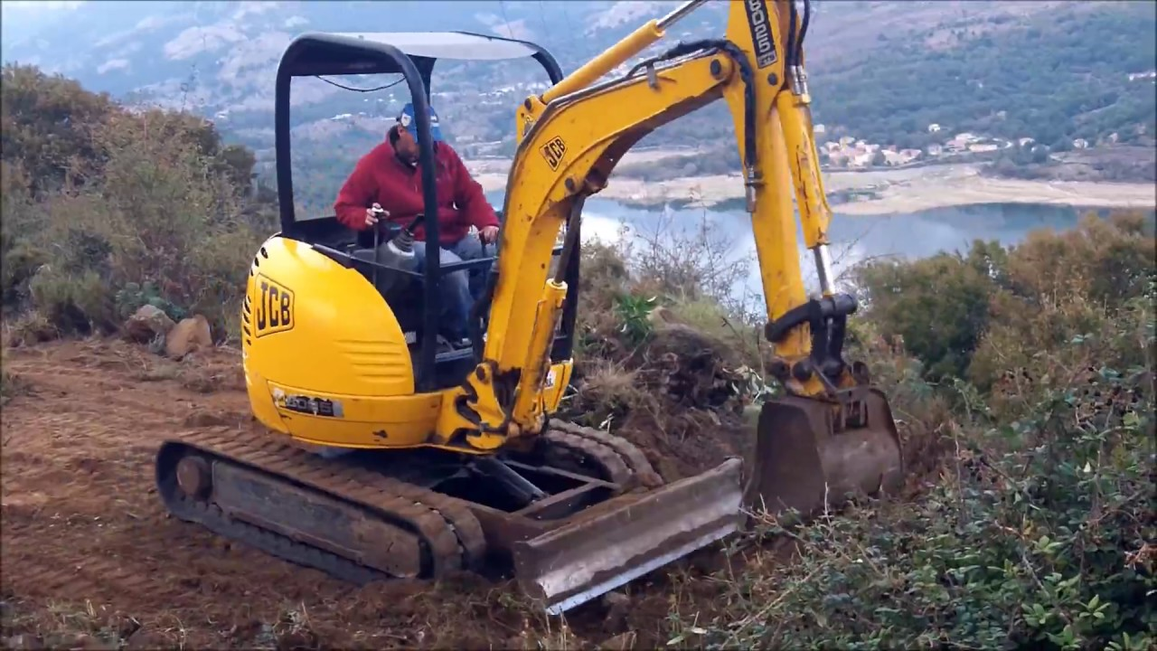 mini pelle jcb chantier montagne haute corse youtube. Black Bedroom Furniture Sets. Home Design Ideas