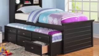 BLACK CAPTAIN TWIN BOOKCASE BED WITH TRUNDLE BED AND 3 DRAWERS STORAGE