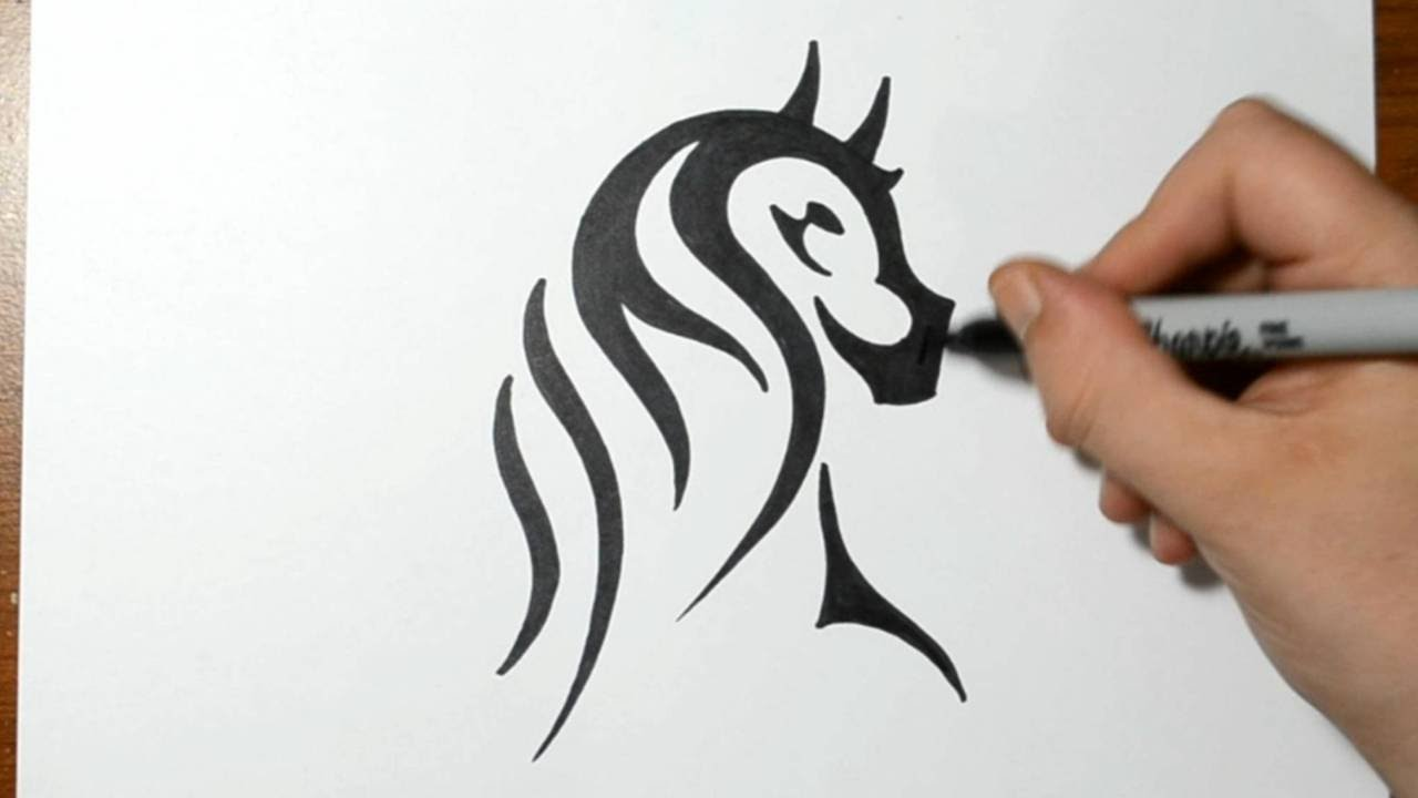 How To Draw A Tribal Horse Portrait Real Time Sketch YouTube