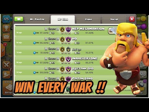 HOW TO WIN EVERY WAR IN CLASH OF CLANS 2018 !!