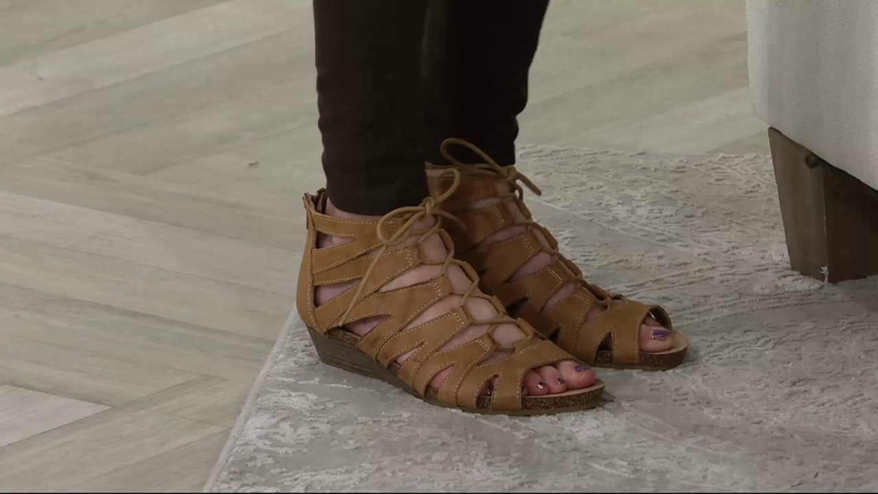 e89121d6ad7 Earth Origins Leather Lace-up Wedges - Harley on QVC - YouTube