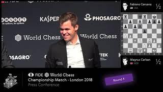 World Chess Championship 2018 - Game 4 Press Conference - Carlsen Caruana