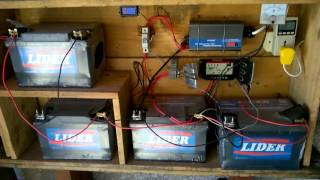 Painel solar - Carga diária - carregando 4 baterias 12v 50a diariamente em céu limpo