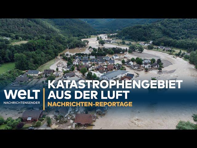 HOCHWASSER: Helikopter-Flug über das Unwetter-Katastrophengebiet   Reportage