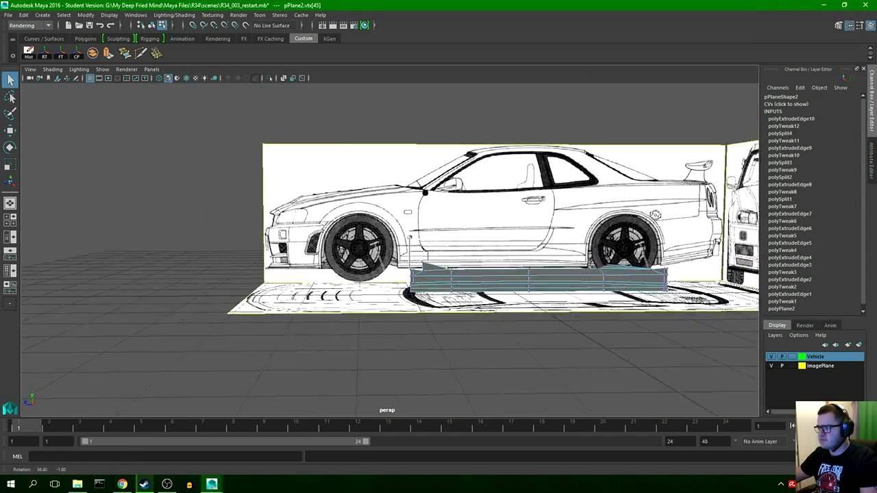 Modelling A R34 Nissn Skyline In Autodeks Maya 2016 Part 1 Youtube