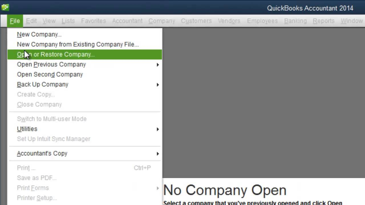 How to Open a QuickBooks Company File