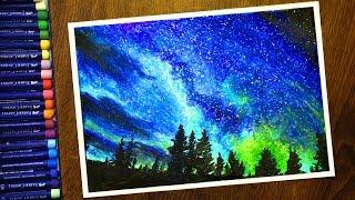 ночной пейзаж Звездное небо Масляной Пастелью  Night landscape with Oil Pastel   step by step